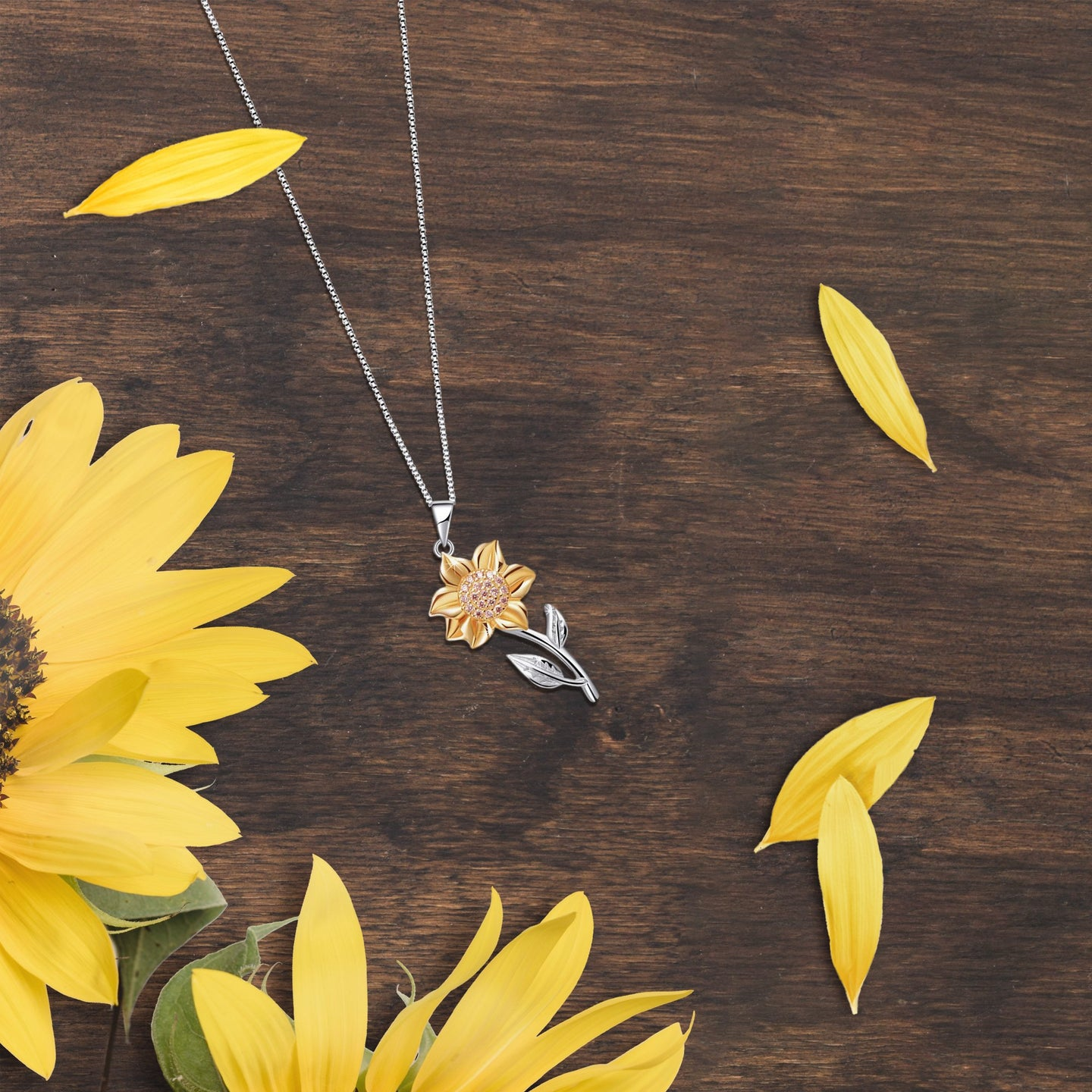 Shiny Sunflower Necklace