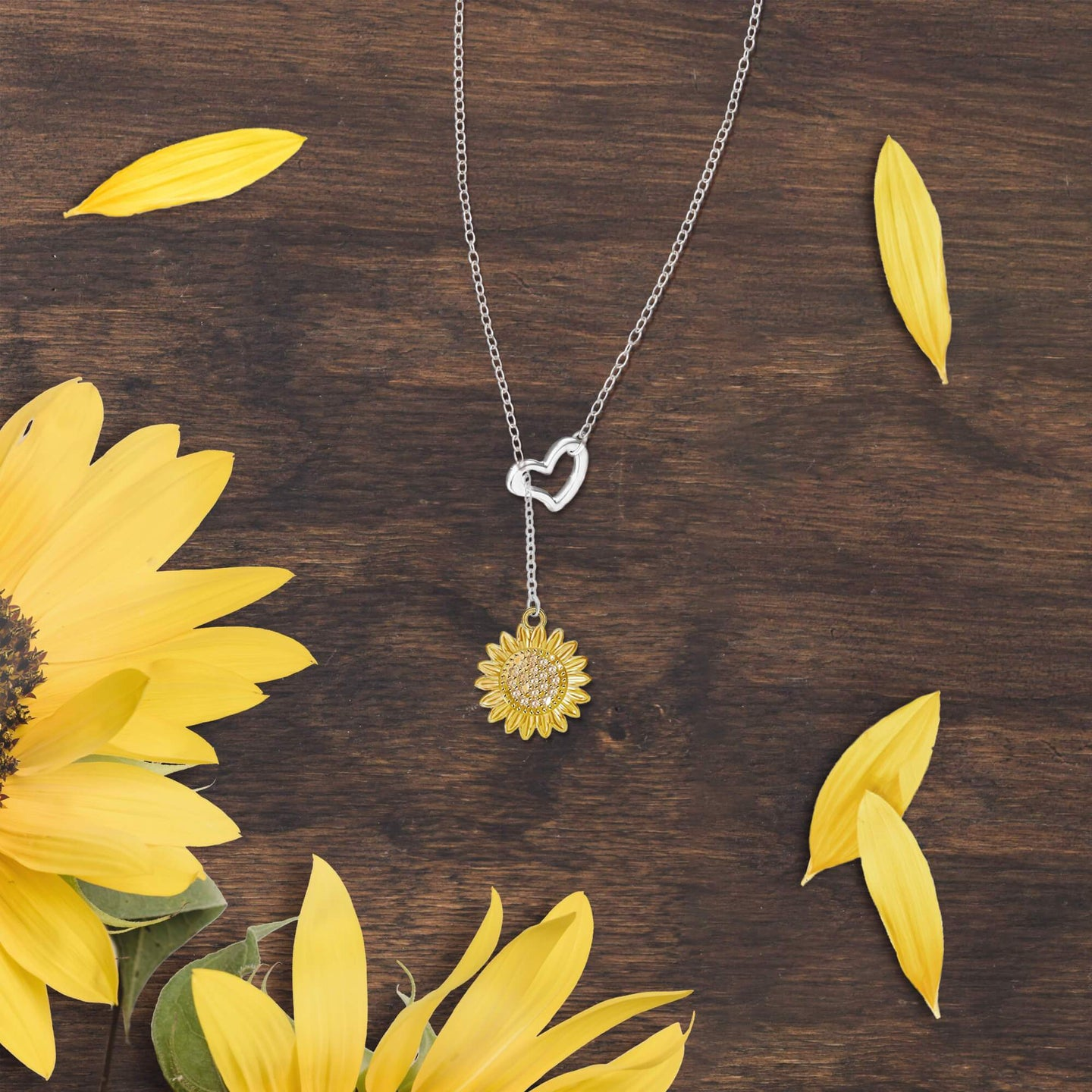 Sunflower and Heart Dangling Necklace