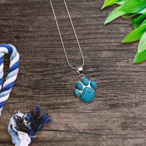 Turquoise Stone Paw Print Necklace