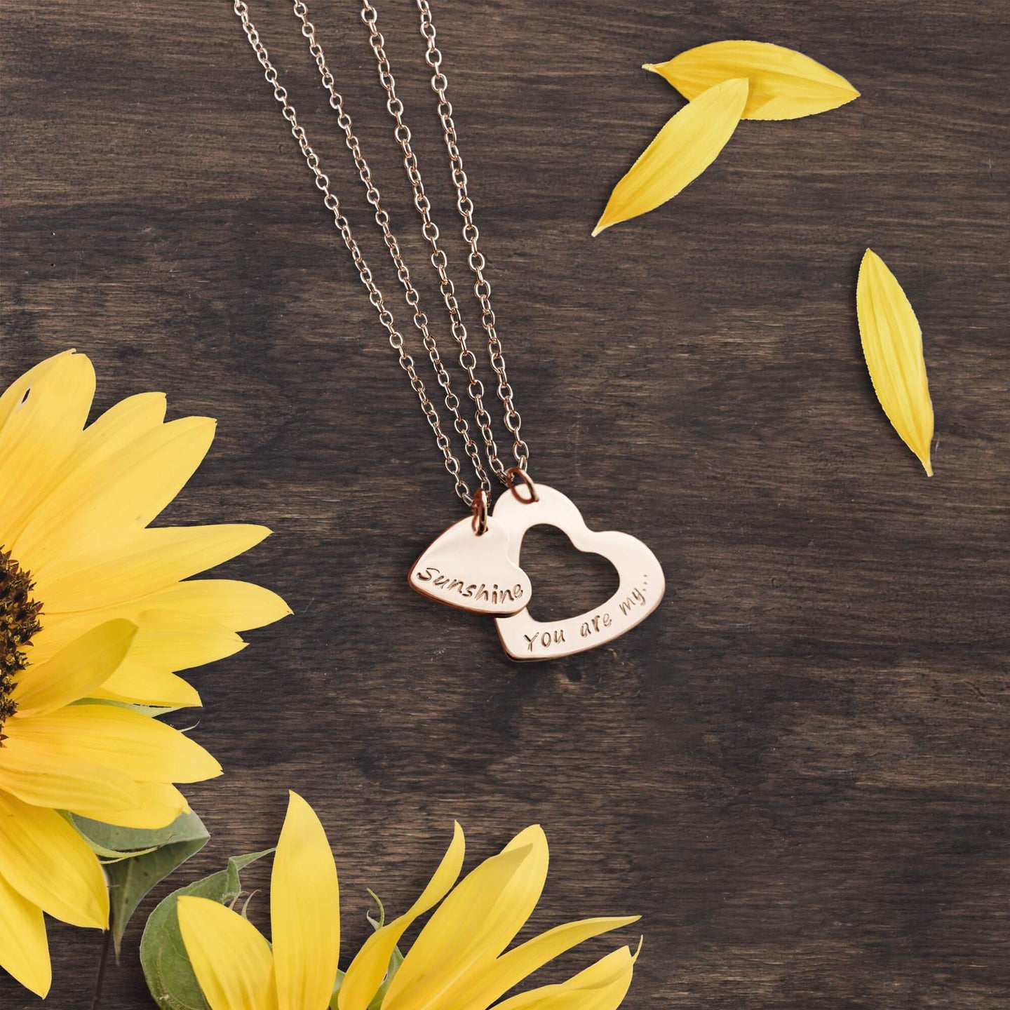 Rosegold You Are My Sunshine Heart Necklace