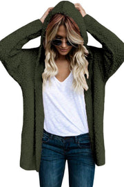 Army Green Fluffy Hooded Open Front Cardigan-Outerwear, Suits & Coats-Azura Exchange