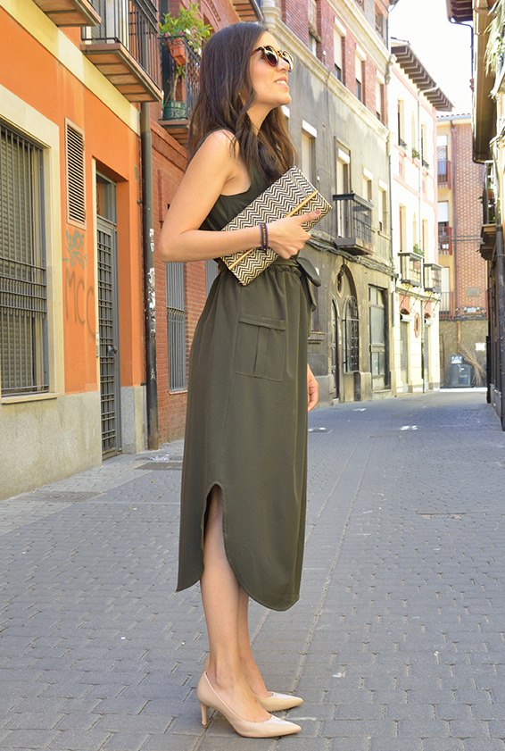 Army Green Sleeveless Shirt Long Dress with Pockets-Dresses, Midi Dresses-Azura Exchange