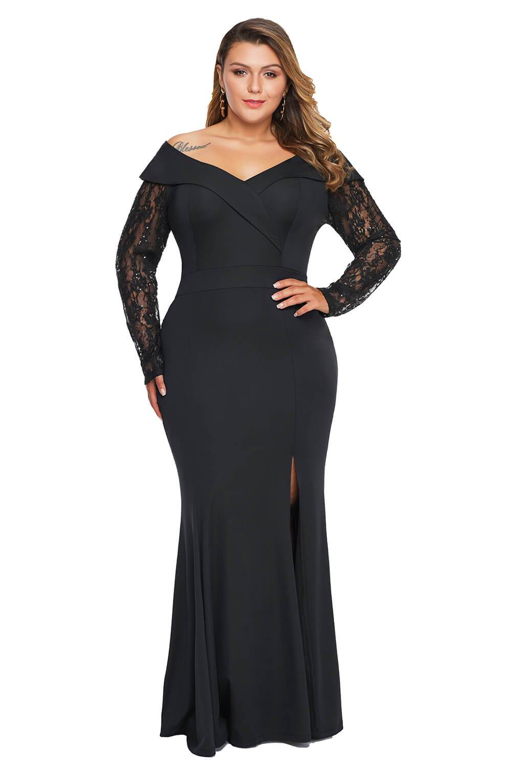 Beaded Lace Sleeve Off Shoulder Plus Size Gown-Plus Size Clothing, Plus Size Dresses-Azura Exchange