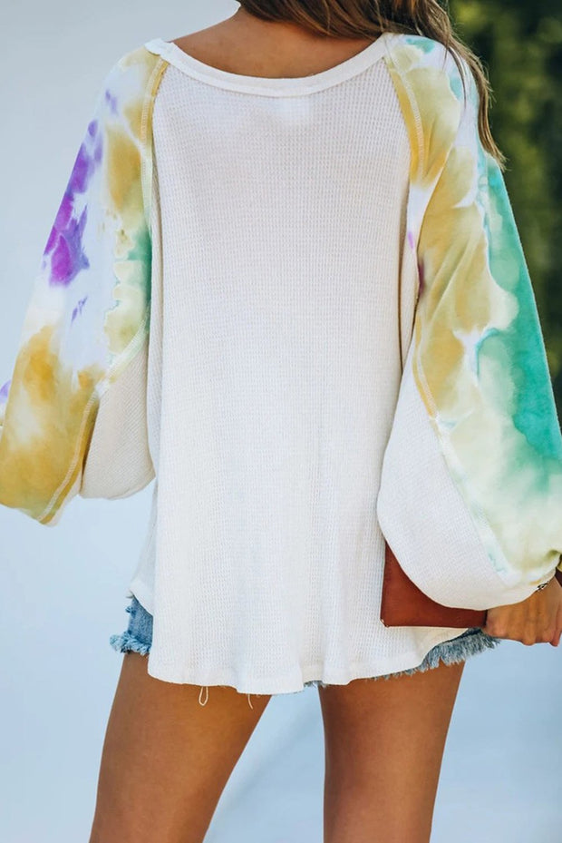 Beige Contrast Tie Dye Thermal Knit Top-Tops, Long Sleeve Tops-Azura Exchange
