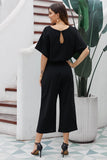 Black Always Chic Belted Culotte Jumpsuit-Outerwear, Jumpsuits & Rompers-Azura Exchange