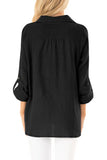 Black Button up Front Tie Top-Tops, Blouses & Shirts-Azura Exchange