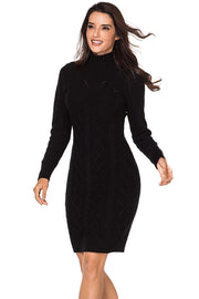 Black Cable Knit High Neck Sweater Dress-Dresses, Sweater Dresses-Azura Exchange
