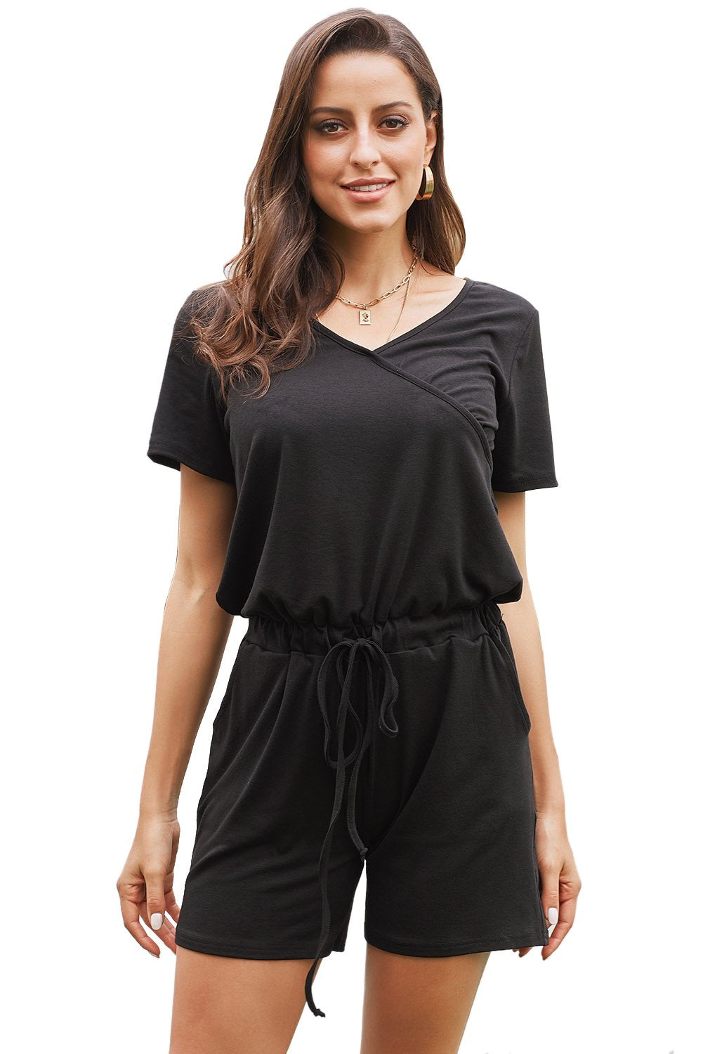 Black Casual Loose Short Sleeve Romper with Pockets-Outerwear, Jumpsuits & Rompers-Azura Exchange
