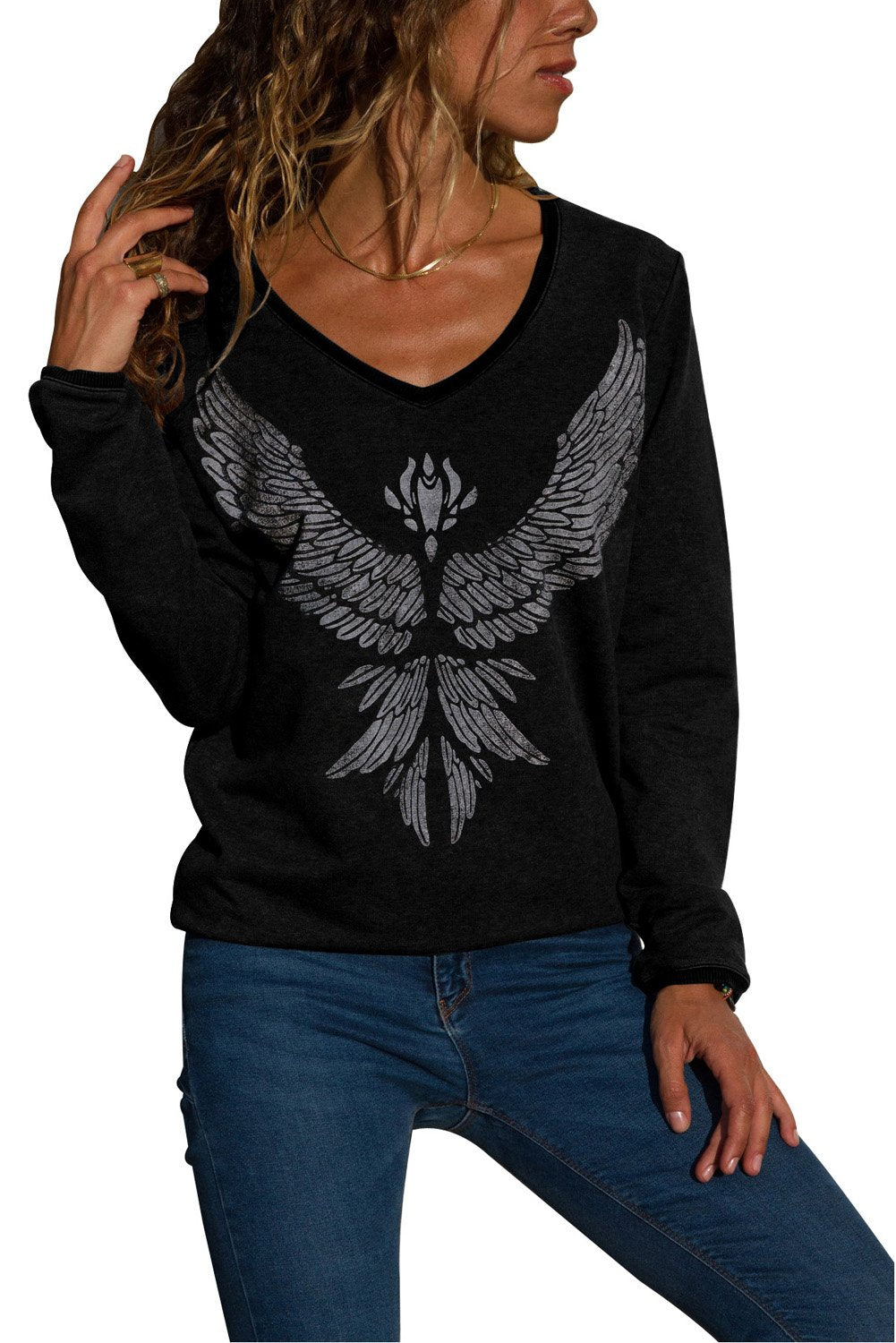 Black Eagle Spread Wing Print Pullover-Tops, Long Sleeve Tops-Azura Exchange