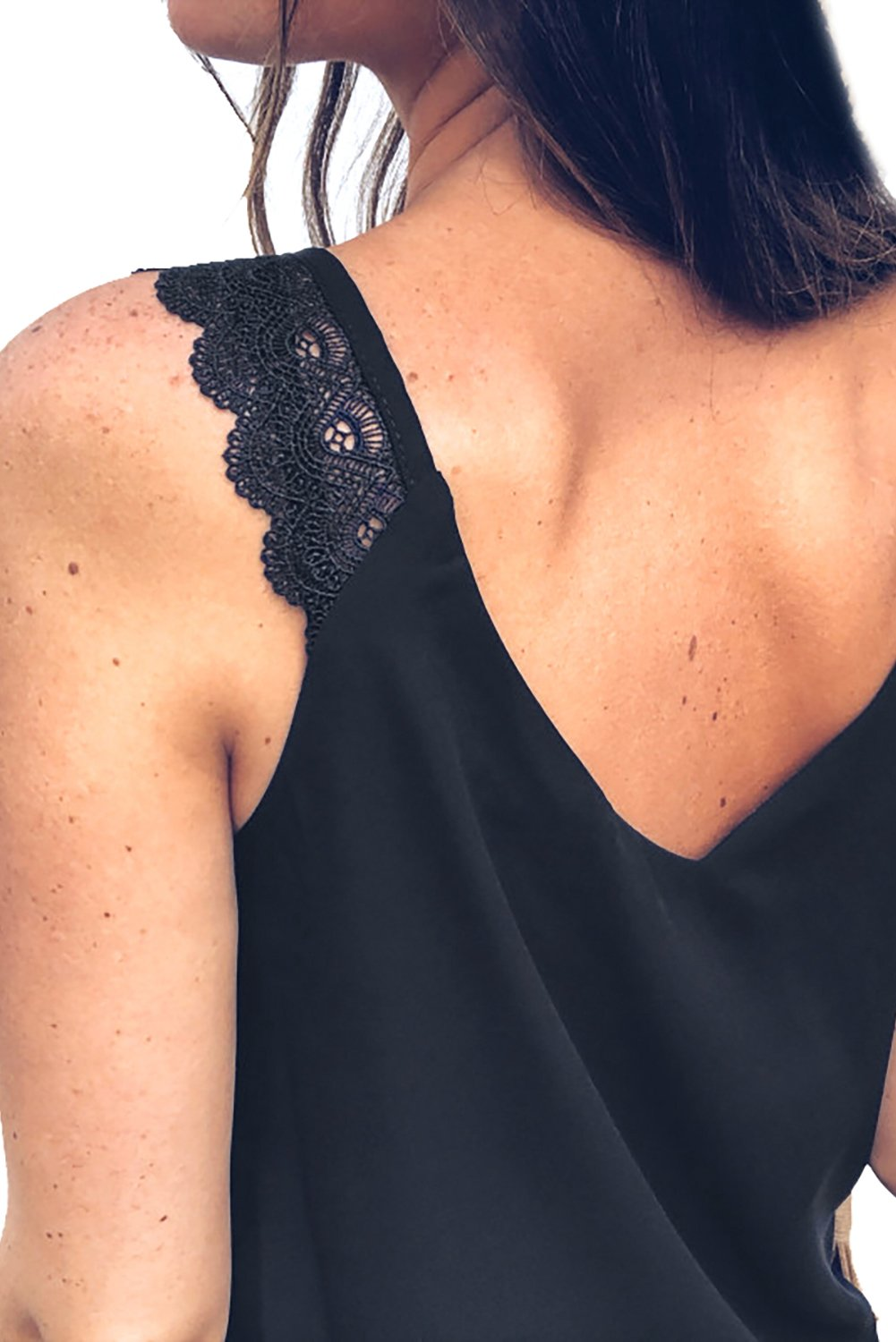 Black Front Knot Lace Shoulder Sleeveless Tank Top-Tops, Tank Tops-Azura Exchange