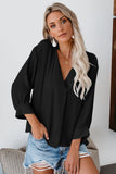 Black Long Walks on The Beach Blouse-Tops, Long Sleeve Tops-Azura Exchange