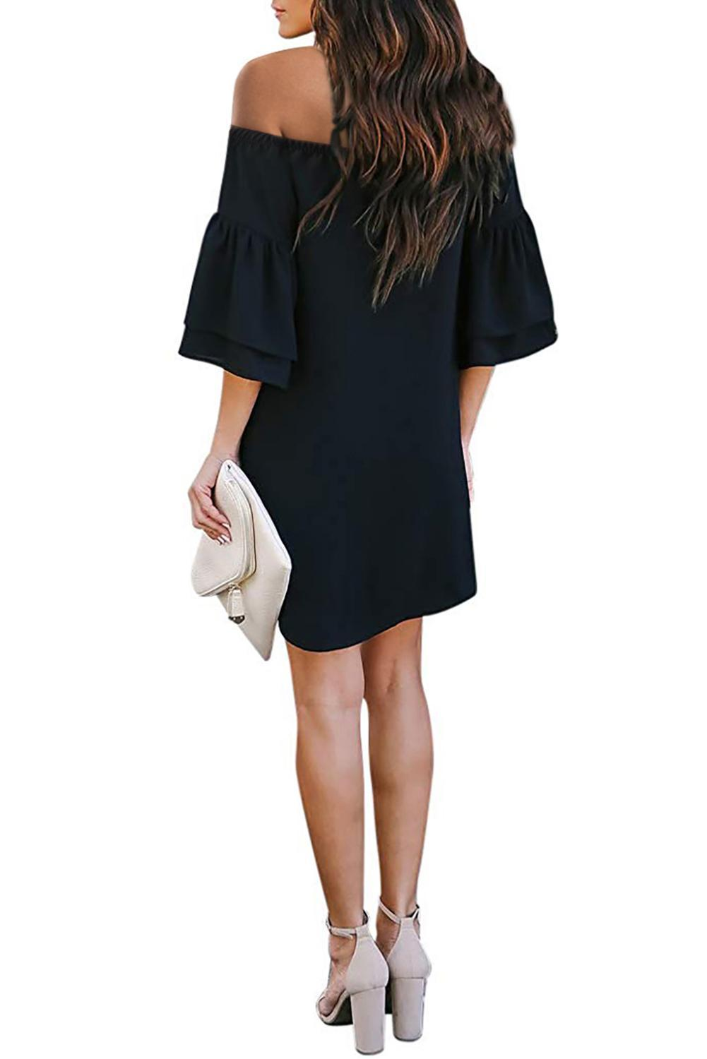 Black Off Shoulder Ruffled Sleeve Shift Dress-Dresses, Jersey Dresses-Azura Exchange