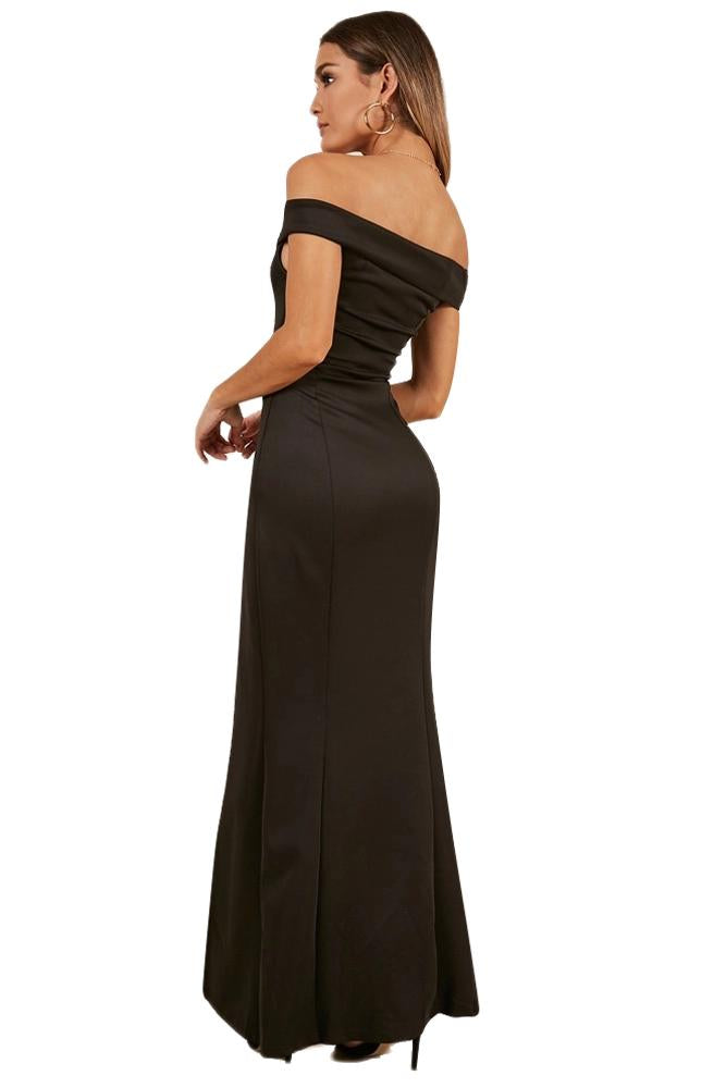 Black Off Shoulder Sweetheart Neck Side Slit Evening Dress-Dresses, Evening Dresses-Azura Exchange