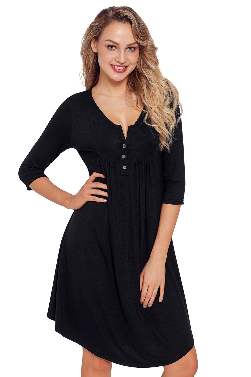 Black Quarter Sleeve Casual Tunic Dress-Dresses, Jersey Dresses-Azura Exchange