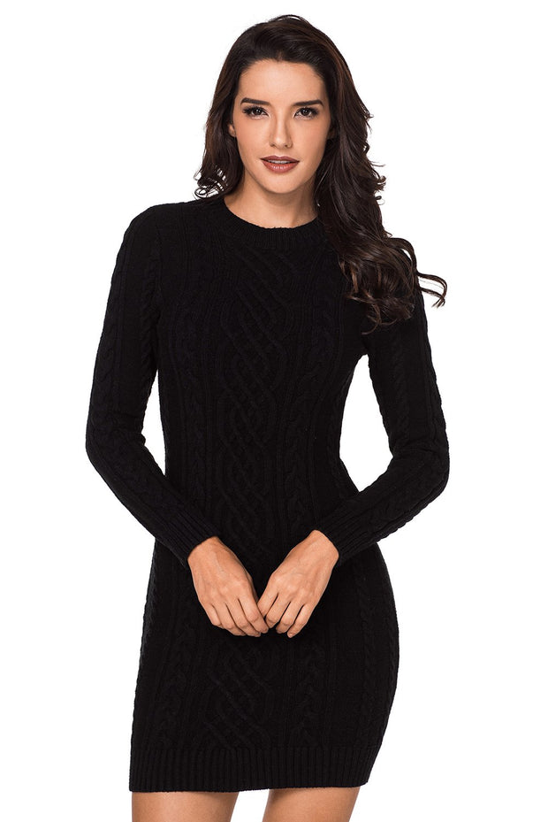 Black Slouchy Cable Sweater Dress-Dresses, Sweater Dresses-Azura Exchange