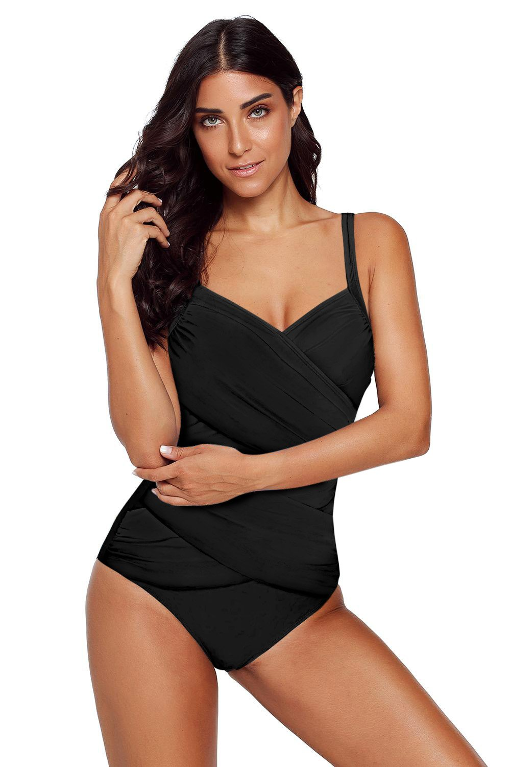 Black Spaghetti Strap Cross Front One Piece Swimwear-Swimwear, One-Piece Swimwear-Azura Exchange
