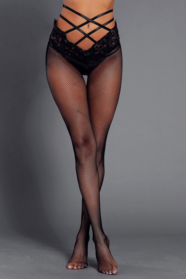 Black Strappy High Waist Lace Mesh Pantyhose-Lingerie, Pantyhose-Azura Exchange