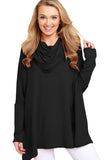 Black Stylish Cowl Neck Long Sleeve Oversize Top-Outerwear, Sweatshirts & Hoodies-Azura Exchange