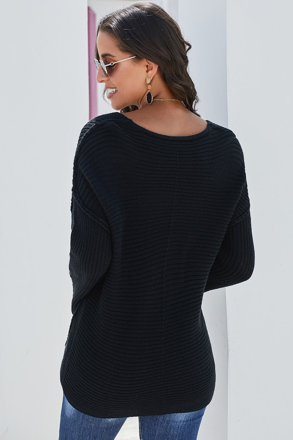 Black Textured V Neck Pullover Sweater-Outerwear, Sweaters & Cardigans-Azura Exchange