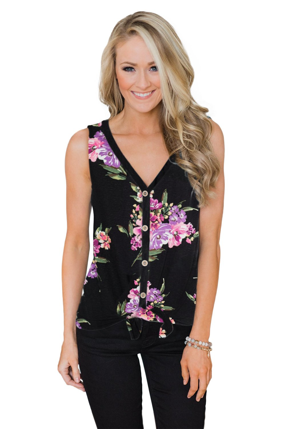 Black Touch The Sky Open Front Floral Tank Top-Tops, Tank Tops-Azura Exchange