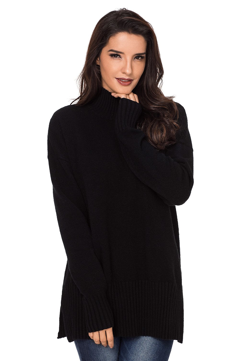 Black Turn-up Sleeve Turtle Neck Sweater-Outerwear, Sweaters & Cardigans-Azura Exchange