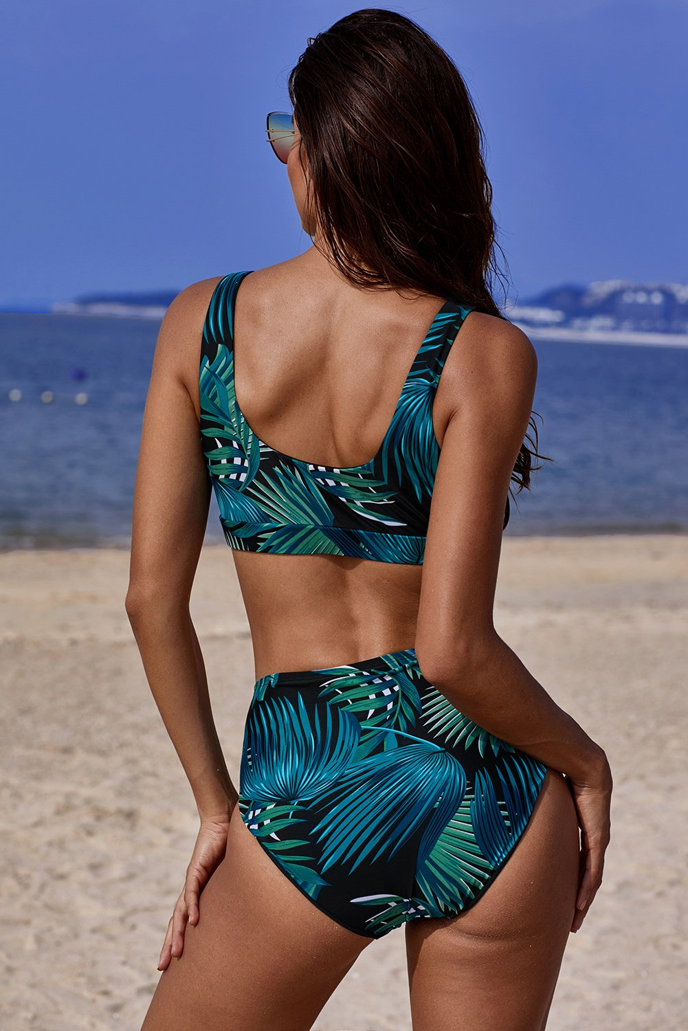 Black U-neckline High Waist Tropical Tankinis-Swimwear, High Waist Swimwear-Azura Exchange