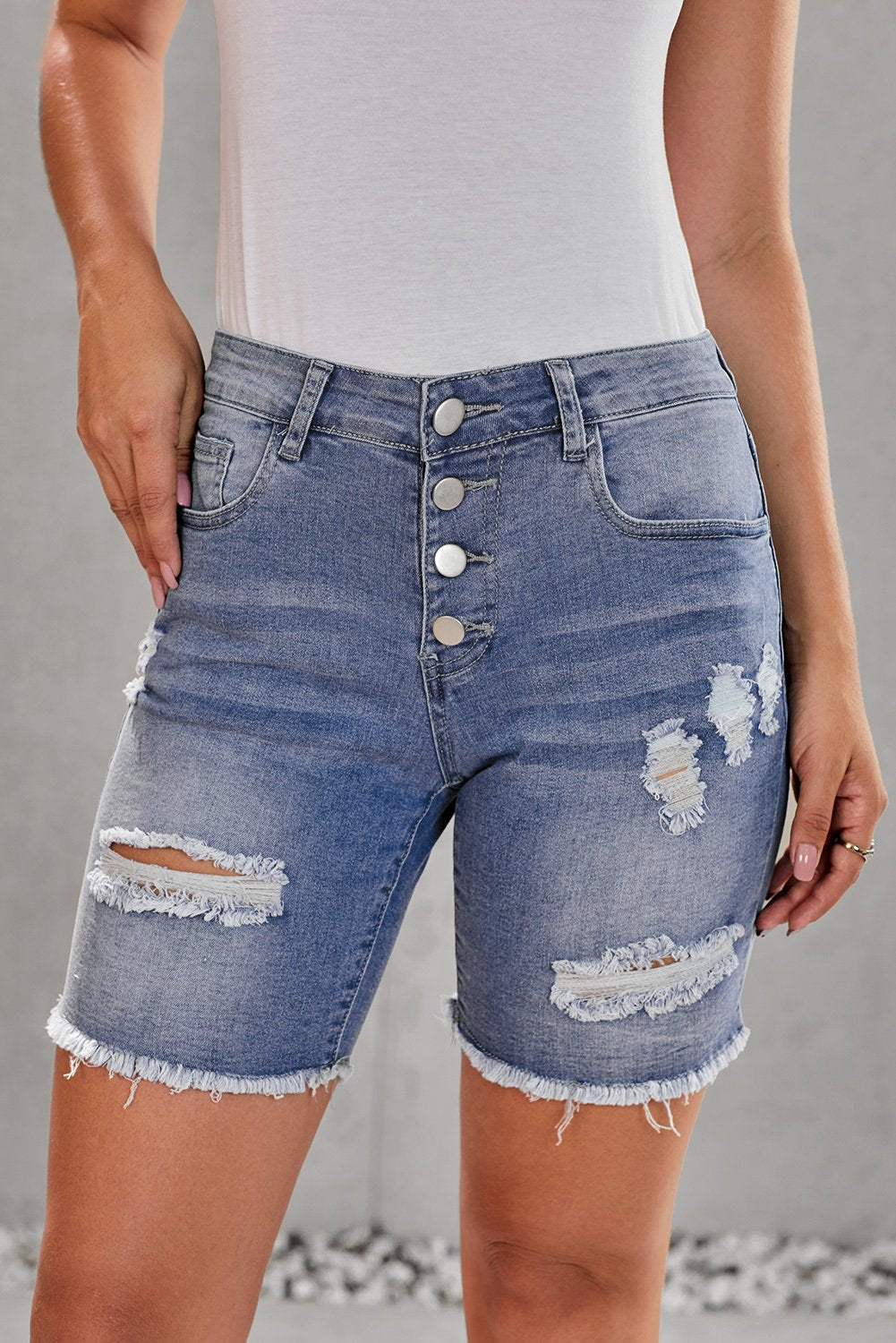 Blue Button Front Distressed Shorts-Bottoms, Jeans-Azura Exchange