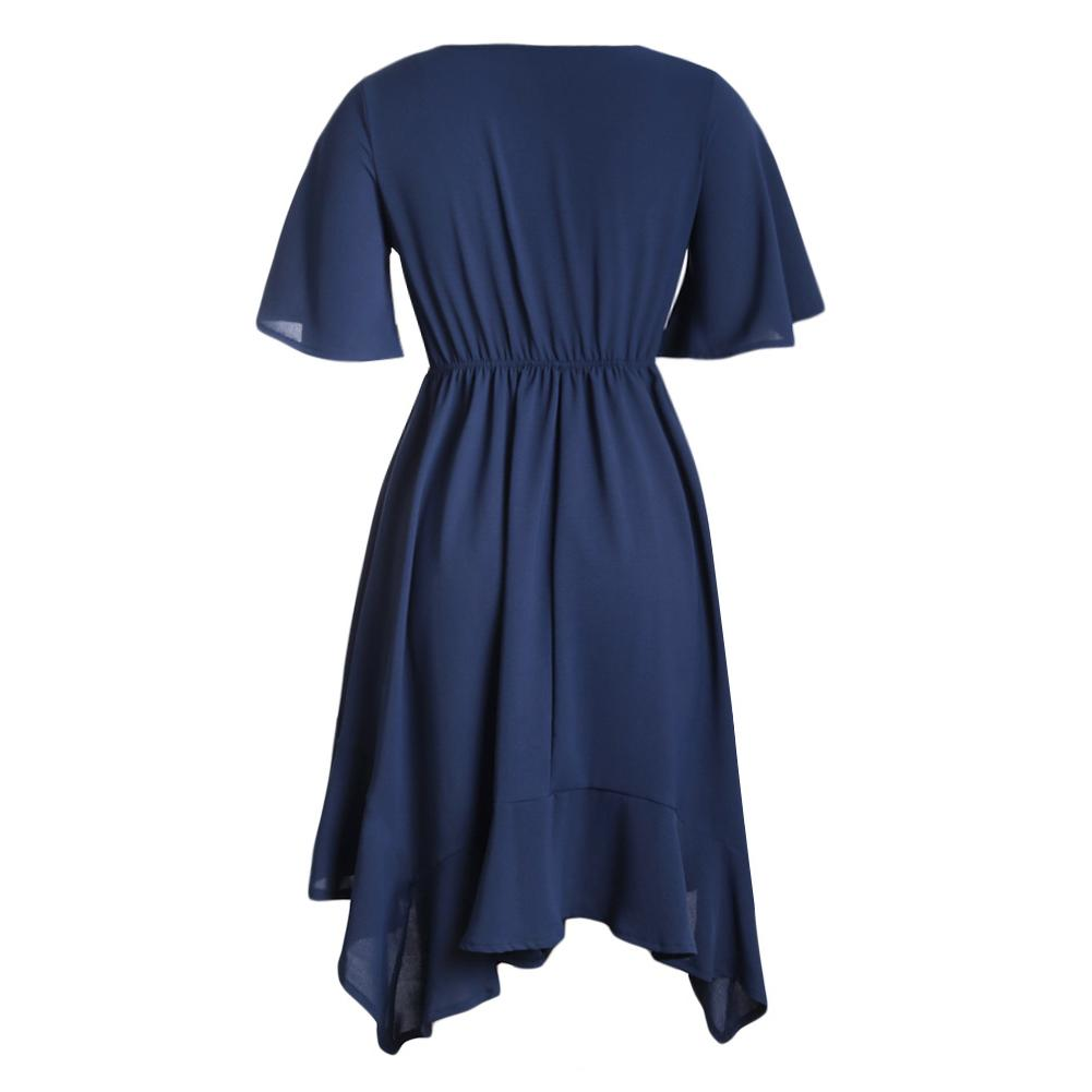 Blue Chiffon Irregular Hem Short Sleeve Pleated Dress-Dresses, Skater Dresses-Azura Exchange