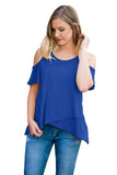 Blue Cold Shoulder High Low Top-Tops, Tops & Tees-Azura Exchange