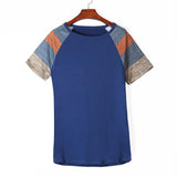 Blue Color Block Short Sleeve Loose Fit Top-Tops, Tops & Tees-Azura Exchange