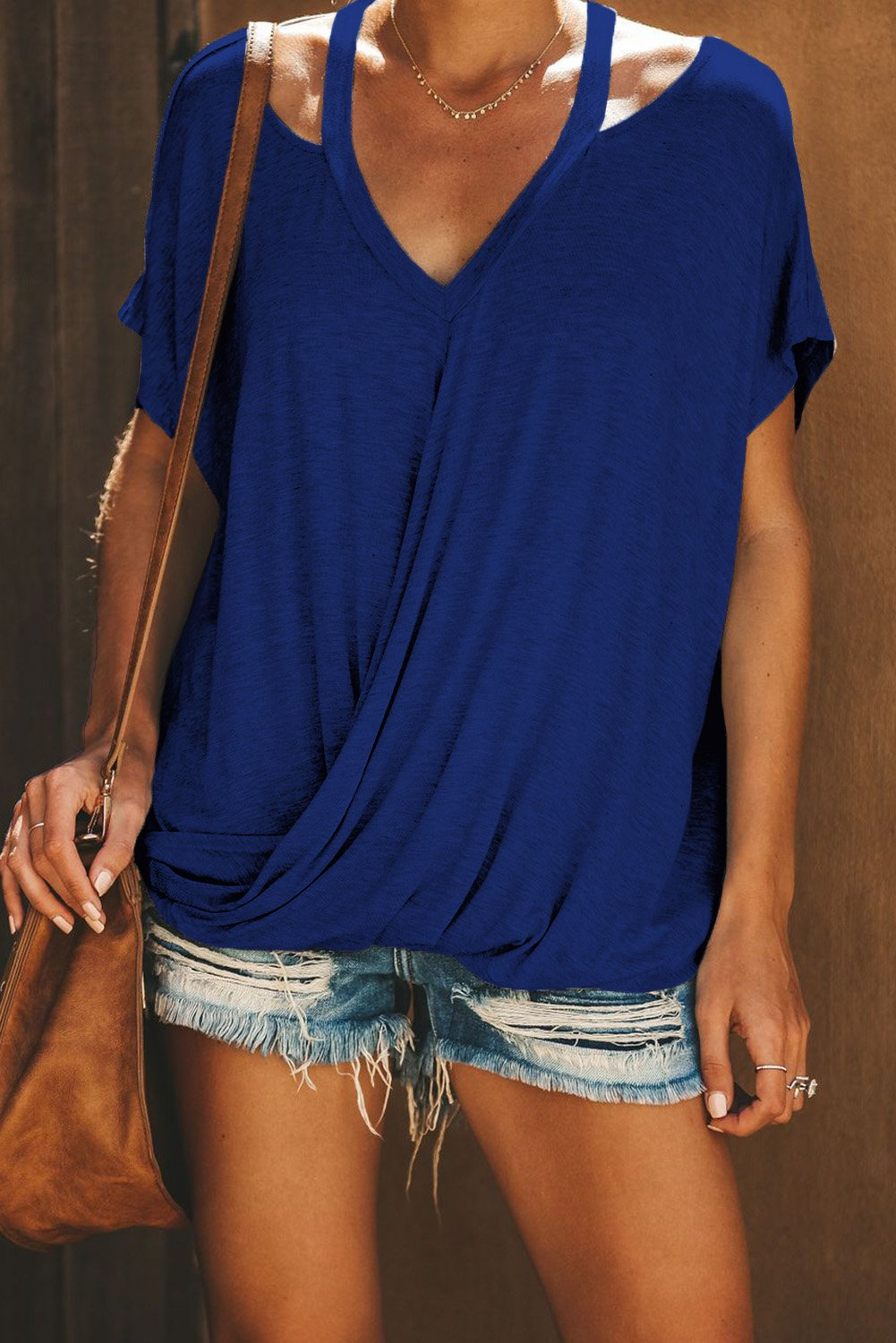 Blue Cut out Drape Tee-Tops, Tops & Tees-Azura Exchange