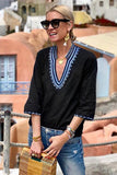 Blue Ethnic Embroidery Blouse-Tops, Blouses & Shirts-Azura Exchange