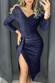 Blue Glitter Ruched Thigh Slit Party Metallic Dress-Dresses, Club Dresses-Azura Exchange