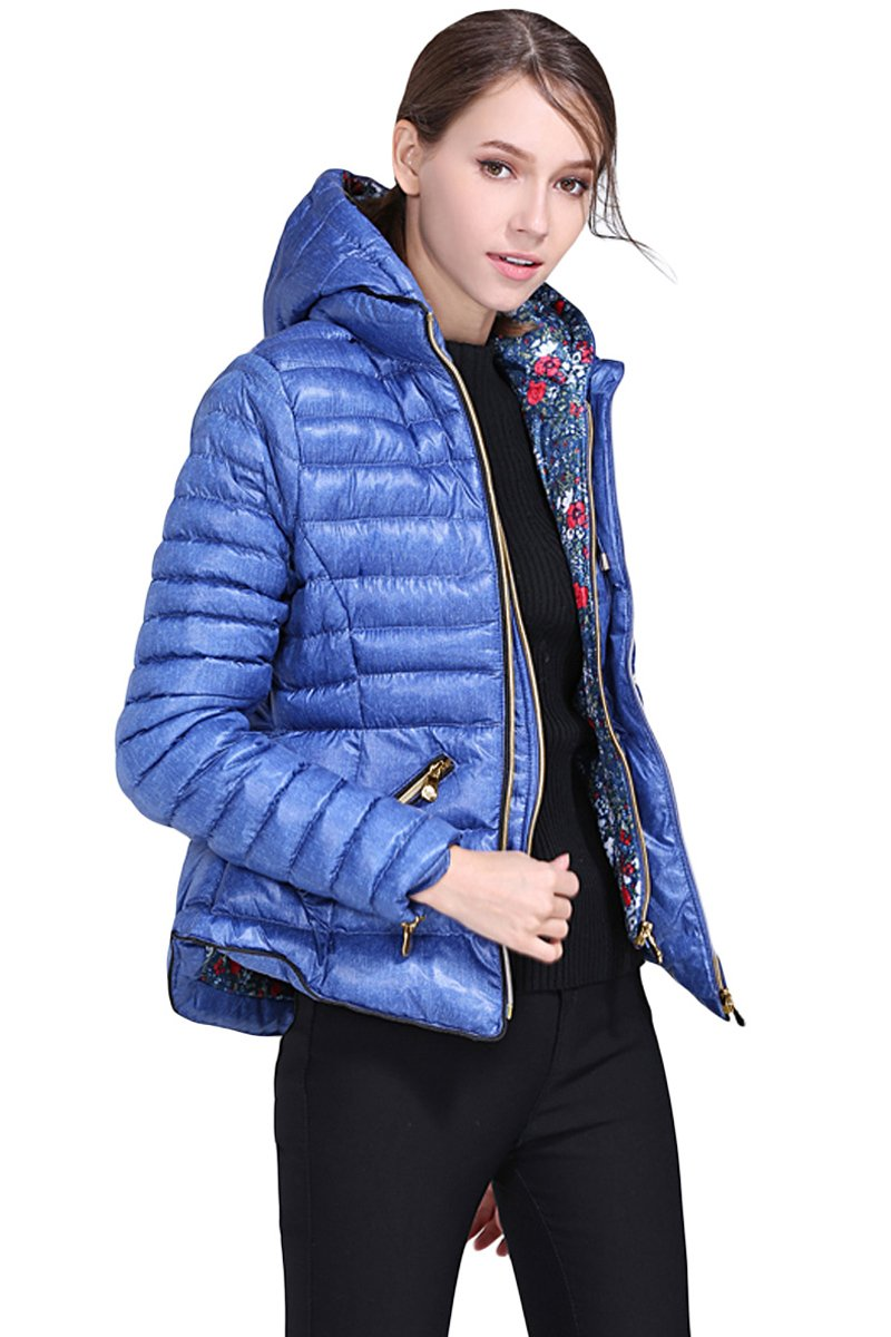 Blue Hooded Cotton Jacket with Zipped Pockets-Outerwear, Suits & Coats-Azura Exchange