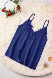 Blue Lace Cami Tank Top with Adjustable Spaghetti Straps-Tops, Tank Tops-Azura Exchange