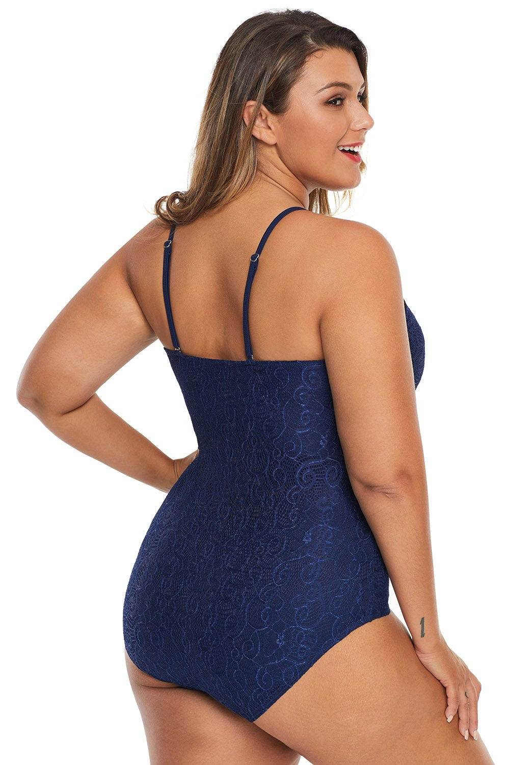 Blue Plus Shamilar High-Neck One Piece Swimsuit-Plus Size Clothing, Plus Size Swimwear-Azura Exchange