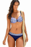 Blue Retro Print Bikini Swimsuit-Swimwear, Bikinis-Azura Exchange