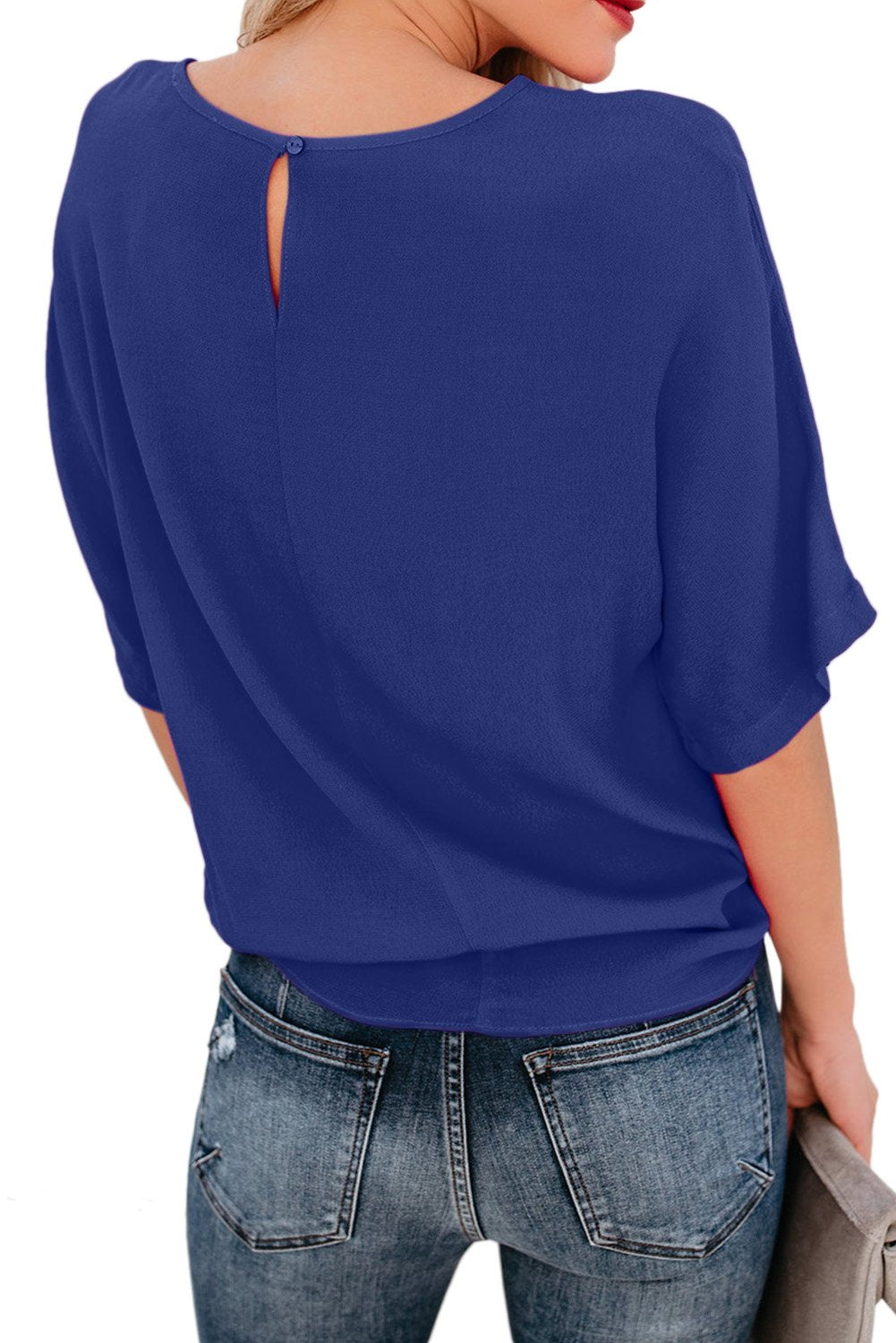 Blue Short Sleeve Crew Neck Bow T-Shirt-Tops, Tops & Tees-Azura Exchange