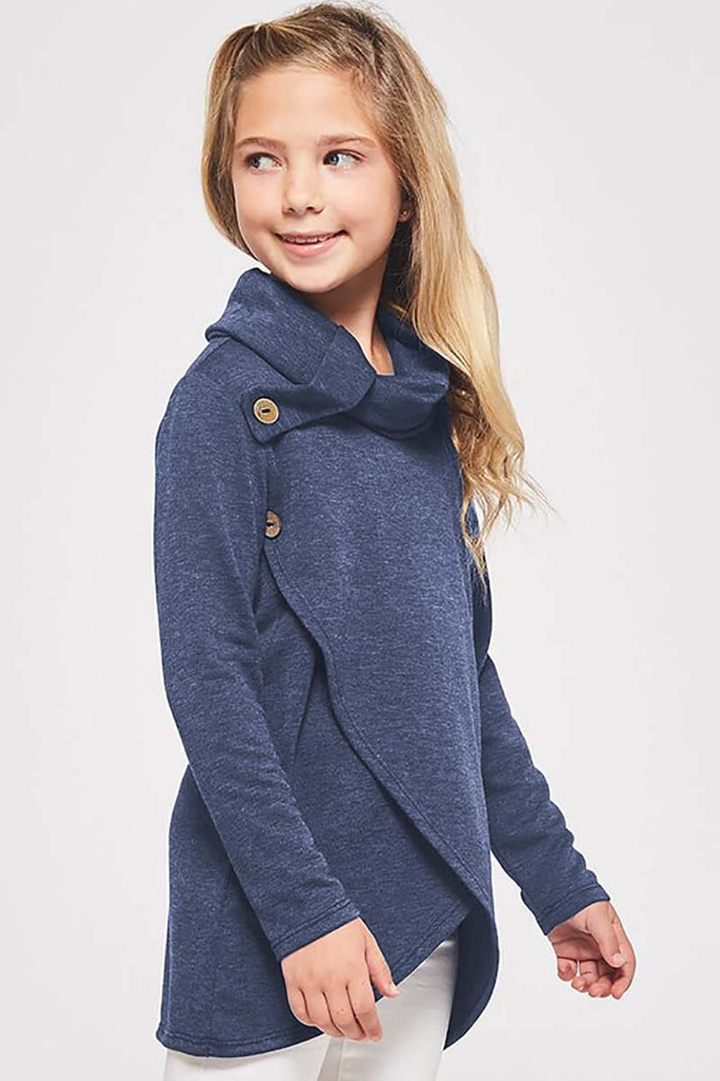 Blue Toddler Little Girls Turtleneck Blouse Top-Baby&Kids, Girls Tops-Azura Exchange