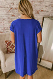 Blue V Neck Cuffed T-shirt Dress-Dresses, Jersey Dresses-Azura Exchange