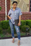 Blue V Neck Stripes Roll up Sleeve Button Down Shirt-Tops, Blouses & Shirts-Azura Exchange
