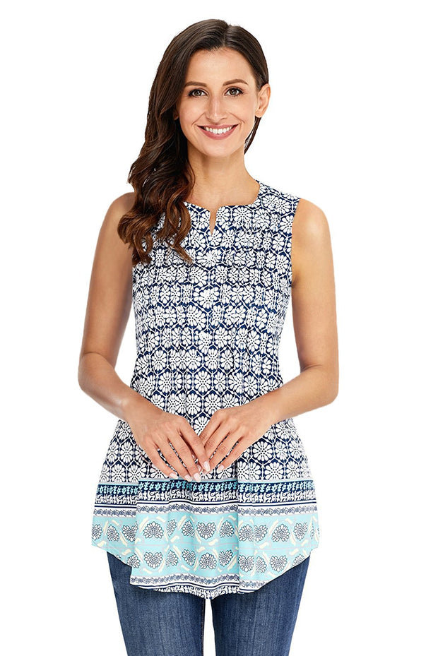 Bohemian Floral Print Ruched Tank Top-Tops, Tank Tops-Azura Exchange