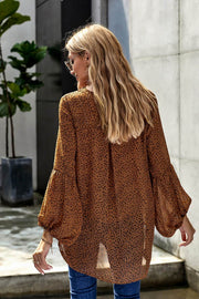 Brown Lantern Sleeve Lace Up Blouse-Tops, Long Sleeve Tops-Azura Exchange
