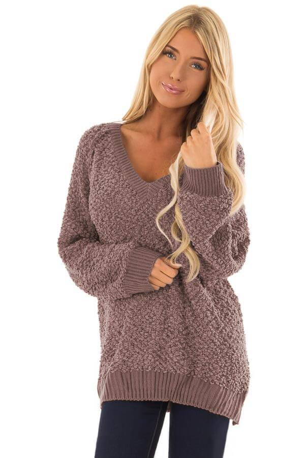 Brown Ribbed V Neckline Popcorn Knit Sweater-Outerwear, Sweaters & Cardigans-Azura Exchange