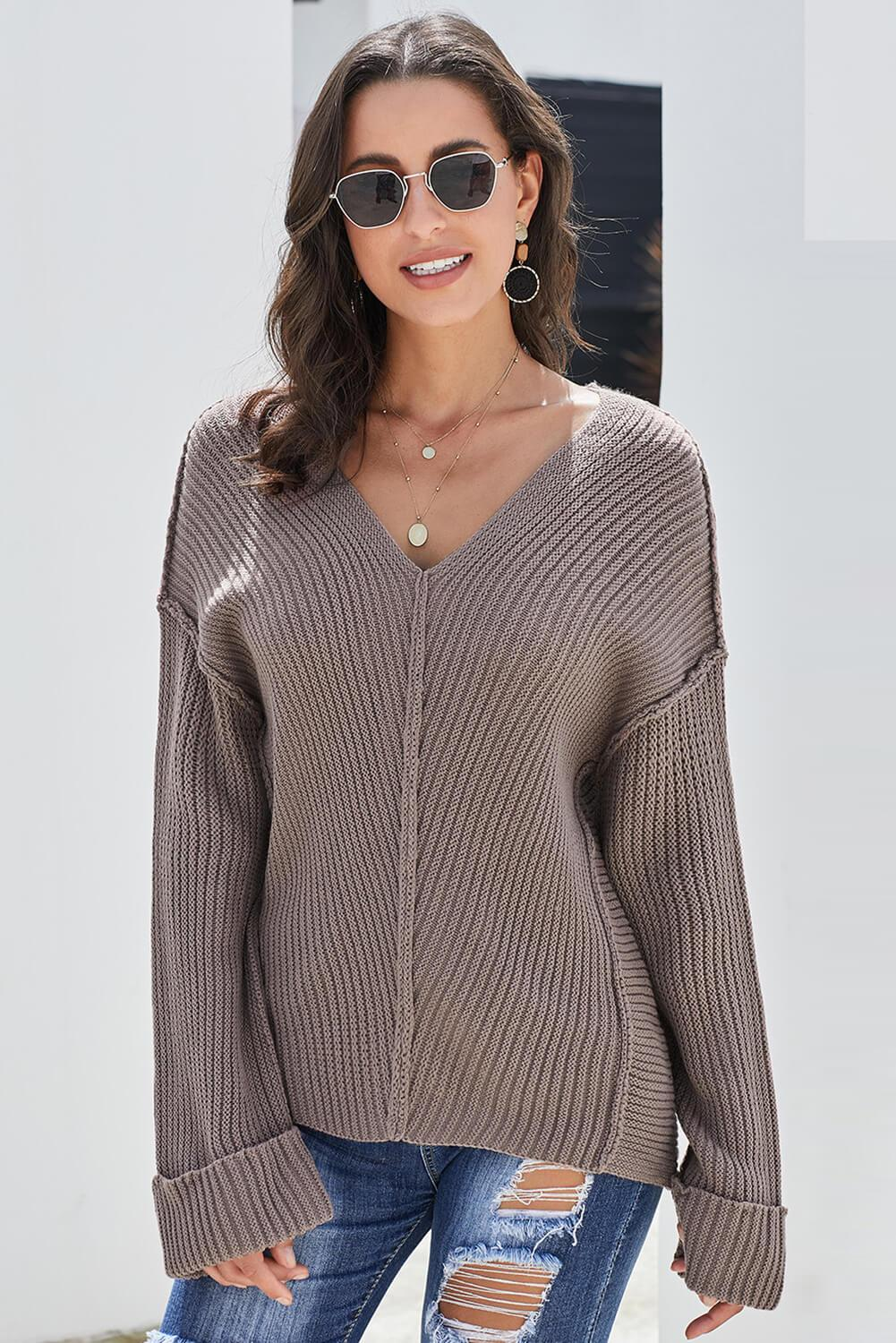 Brown Textured V Neck Pullover Sweater-Outerwear, Sweaters & Cardigans-Azura Exchange