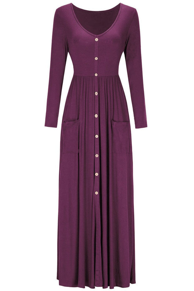 Burgundy Button Front Pocket Style Casual Long Dress-Dresses, Maxi Dresses-Azura Exchange