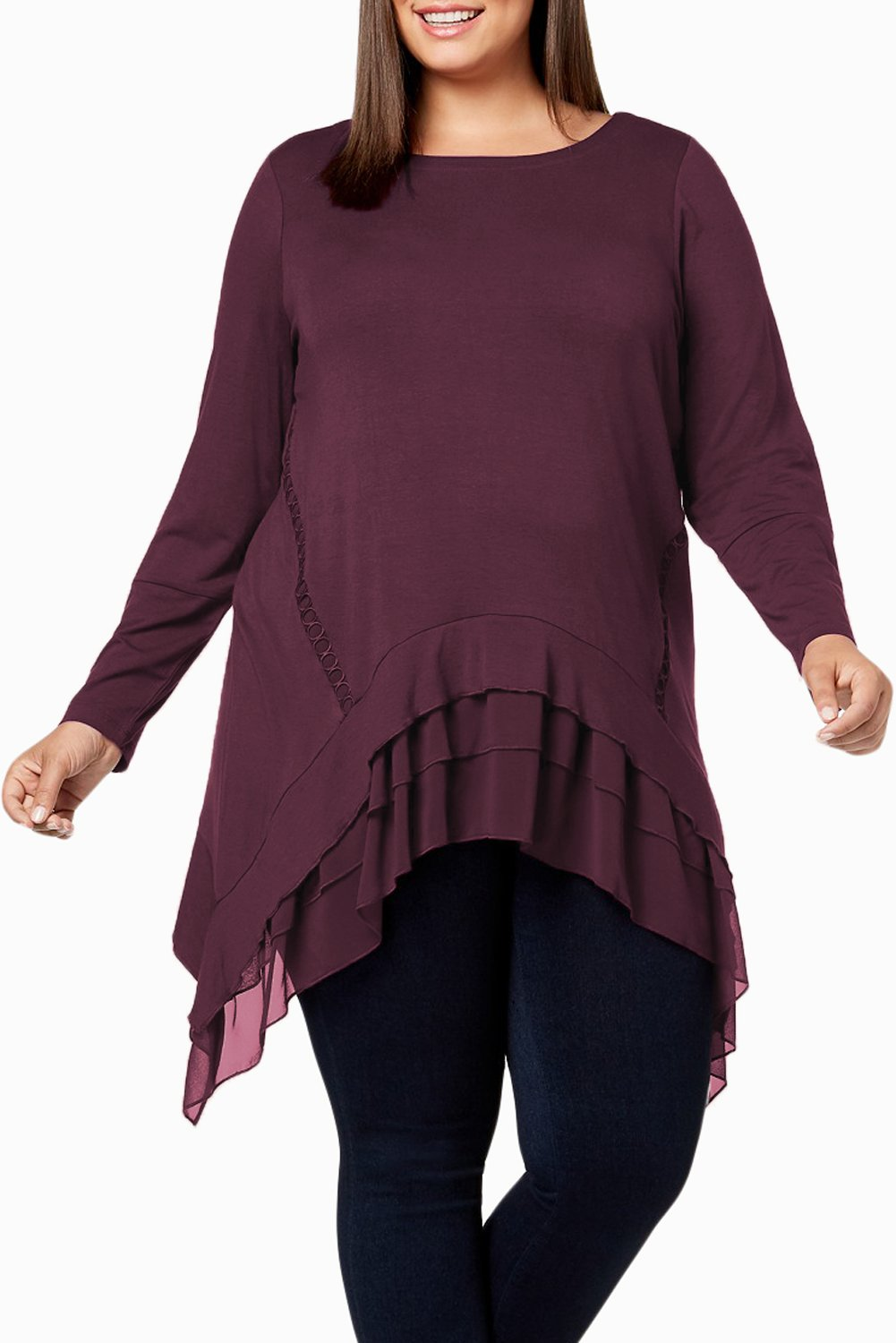 Burgundy Sheer Ruffled Splice Plus Size Top-Plus Size Clothing, Plus Size Tops-Azura Exchange