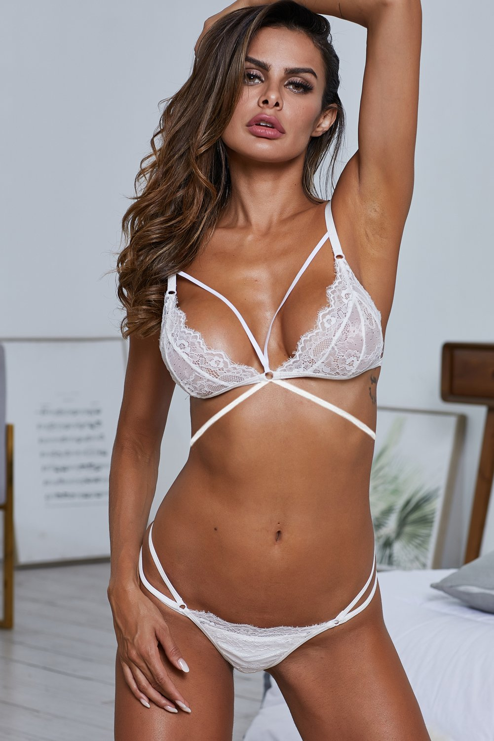 Candied Heart Bralette In White Lace-Lingerie, Bralettes-Azura Exchange