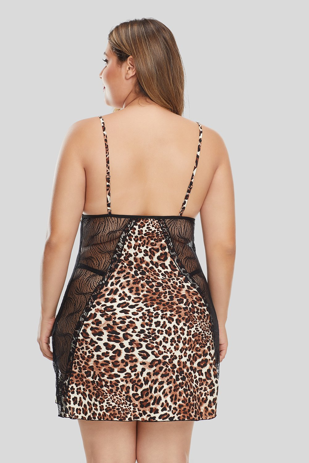 Cheetah Print Lace Hollow-out Plus Size Lingerie-Plus Size Clothing, Plus Size Lingerie-Azura Exchange