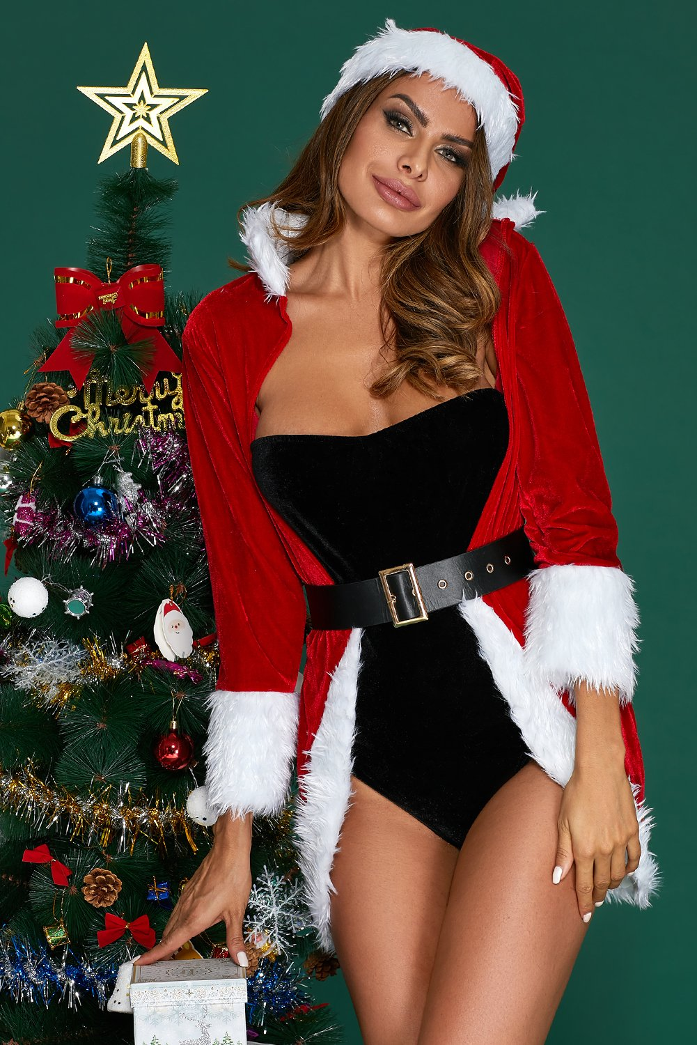 Christmas Queen Luxe Fur Trim 4pcs Costume-Sexy Costumes, Christmas Costumes-Azura Exchange